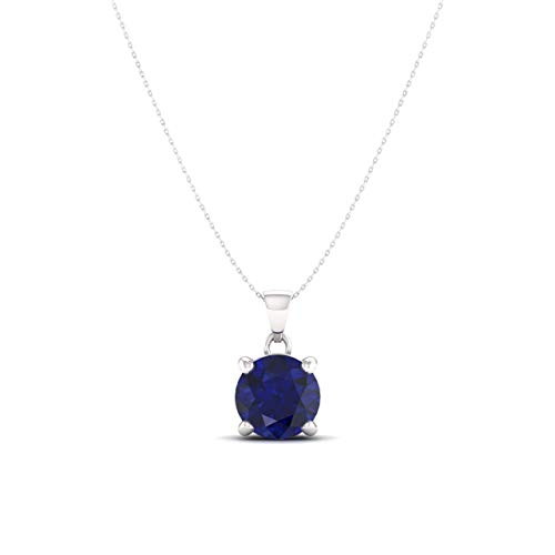 Si1 Sapphire Necklace - Diamondere Natural and Certified Blue Sapphire Solitaire Necklace in 14k White Gold | 0.47 Carat SI1-SI2 Quality Pendant with Chain