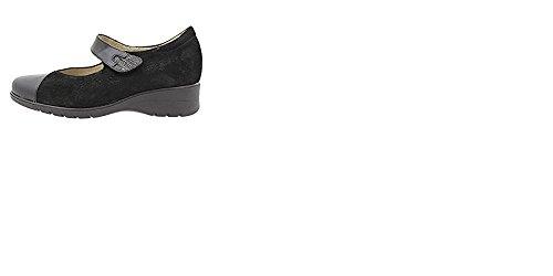 Zapatos mujer marca PieSanto nº 40 - Plantilla extraible, cierre velcro, en piel negro combinado ante y grabado, tipo Mercedes - 9953 - 113