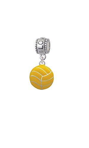 Silvertone Large Water Polo Ball - I Love You Charm Bead (Water Polo Charm Bracelet)