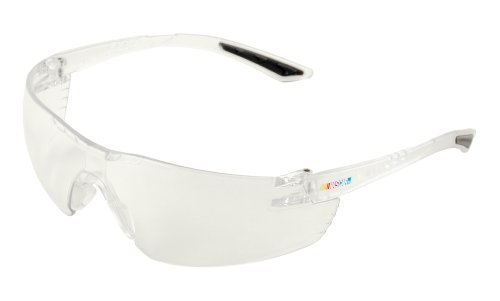 Encon Nascar 442 Wraparound High Performance Safety Eyewear with Gray Tip, Clear Lens, Clear Frame (Tips Formation)
