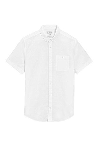next Hombre Camisa Manga Corta Mezcla Lino Corte Regular Top Blanco