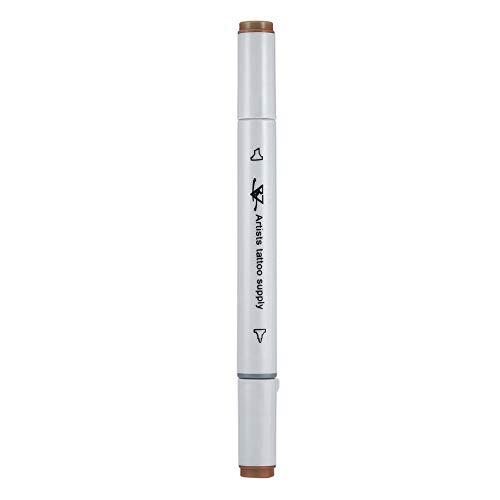 Doble punta de arte corporal Body Piercing Rotulador de la piel Herramienta de marcador de punta plana/gruesa Artista Tattoo Supply Accesorios - marrón TangDay