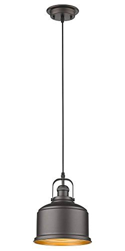 Chloe Lighting Ironclad Industrial-Style 1 Light Rubbed Bronze Ceiling Mini Pendant 8'' Wide by Chloe Lighting