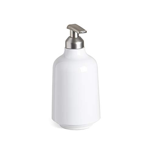 Step Soap Pump by Umbra, Liquid Soap Dispenser, Bathroom Accessories, White Soap Dispenser, Glossy White Finish