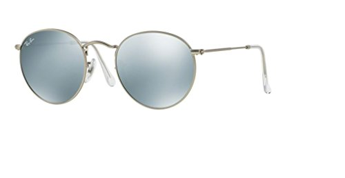 Ray Ban RB3447 ROUND METAL 019/30 50M Matte Silver/Light Green Mirror Silver Sunglasses For Men For ()