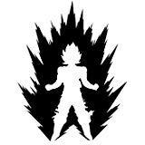 LCK Unique Design DBZ Dragon Ball Z Power Up Super Saiyan, White, 6 Inch, Die Cut Vinyl Decal, For Windows, Cars, Trucks, Toolbox, Laptops, Macbook-virtually Any Hard Smooth Surface (Car Decals Dragon Ball Z)