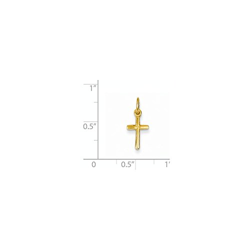 14k Gold Small Cross Charm Pendant (0.71 in x 0.31 in)