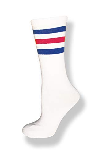 Neon Nation Unisex Calf High White Sock w/Three Stripes (White w/Royal Blue & Red Stripes)
