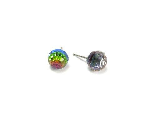 Vitrail Medium Faceted Ball Swarovski Austrian Crystal Earrings, - Austrian Vitrail Crystal