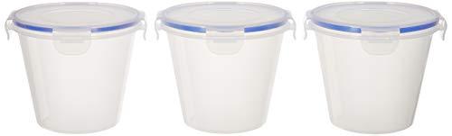 Amazon Brand – Solimo Plastic Kitchen Storage Container Set, 1 Litre, 3-Pieces, Blue