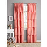 Your Zone Ruffle Girls Bedroom Curtain 42x95 Coral