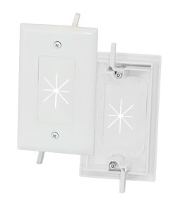 GOWOS 1-Gang Feed-Through Wall Plate with Flexible Opening, White ()
