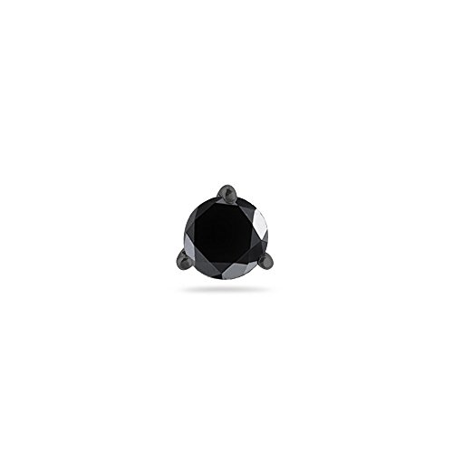 1/2 (0.46-0.55) Cts of 4.89-4.93 mm AA Round Black Diamond Men's Stud (Aa Diamond Mens Ring)