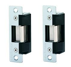 (Von Duprin 5100 3FP 689, Medium Duty Electric Strike for Cylindrical Lock or Aluminum Deadlatch, Aluminum Finish with 3 Faceplates (2-(Pack)))