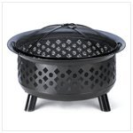 Geometric Home Garden Wood Charcoal Black Iron Fire Pit by Furniture Creations