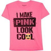 Boys I Make Pink Look Cool Emoji Short Sleeve Graphic Crew T-Shirt (8)
