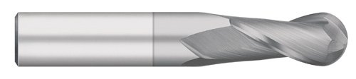 Titan TC91024 Solid Carbide End Mill, Regular Length, 2 Flute, Ball Nose, 30 degree Helix, TiCN Coated, 3/8' Cutting Diameter, 3/8' Shank Diameter, 2-1/2' Overall Length, 1' Cutting Length 3/8 Cutting Diameter 3/8 Shank Diameter 2-1/2 Overall Length