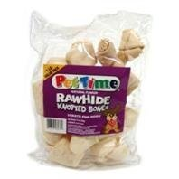 Pet Time Rawhide Knotted Natural Bones Value Pack 1lb by IMS Pet Industries