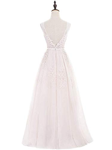 Largos Las Dobles Home Pink En Coctel Ivory Ailin color Noche V Tul 12 Con Tamaño Vestidos De Cuello Mujeres Apliques Dusty gWncC1Pff