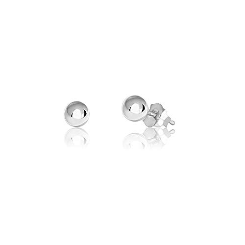 Verona Jewelers Womens Sterling Silver Post Ball Stud Earrings- Bead Ball Stud Earrings for Women 2-12MM (9) (Silver, 4) ()