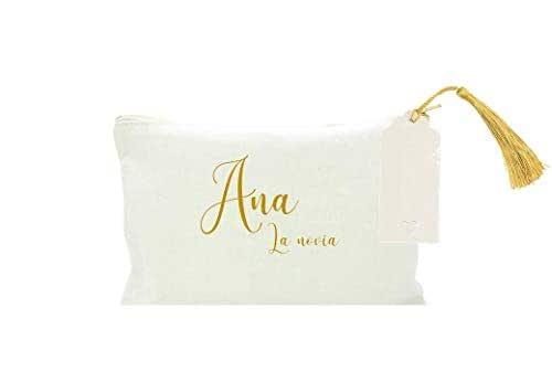 Neceser BODA novia, madrina, amiga de la novia, personalizado en algodón blanco, con borla DORADA. 2 TAMAÑOS. Regalo Boda. Regalo original para mujer.