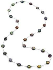 """Sterling Silver Freshwater Cultured Black Coin Pearl 38"""" Necklace"""
