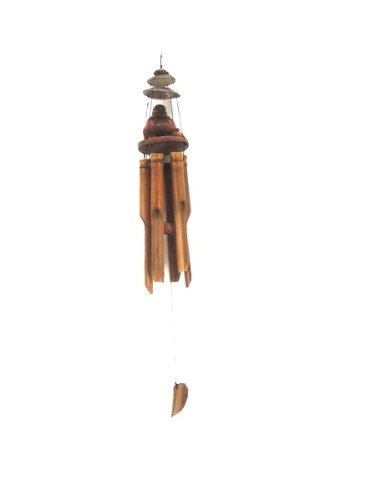Grand carillon /éolien de 80 cm Bouddha Rieur Bois Feng Shui Carillon /éolien Sculpt/é Noix de coco Bonne sonorit/é W80