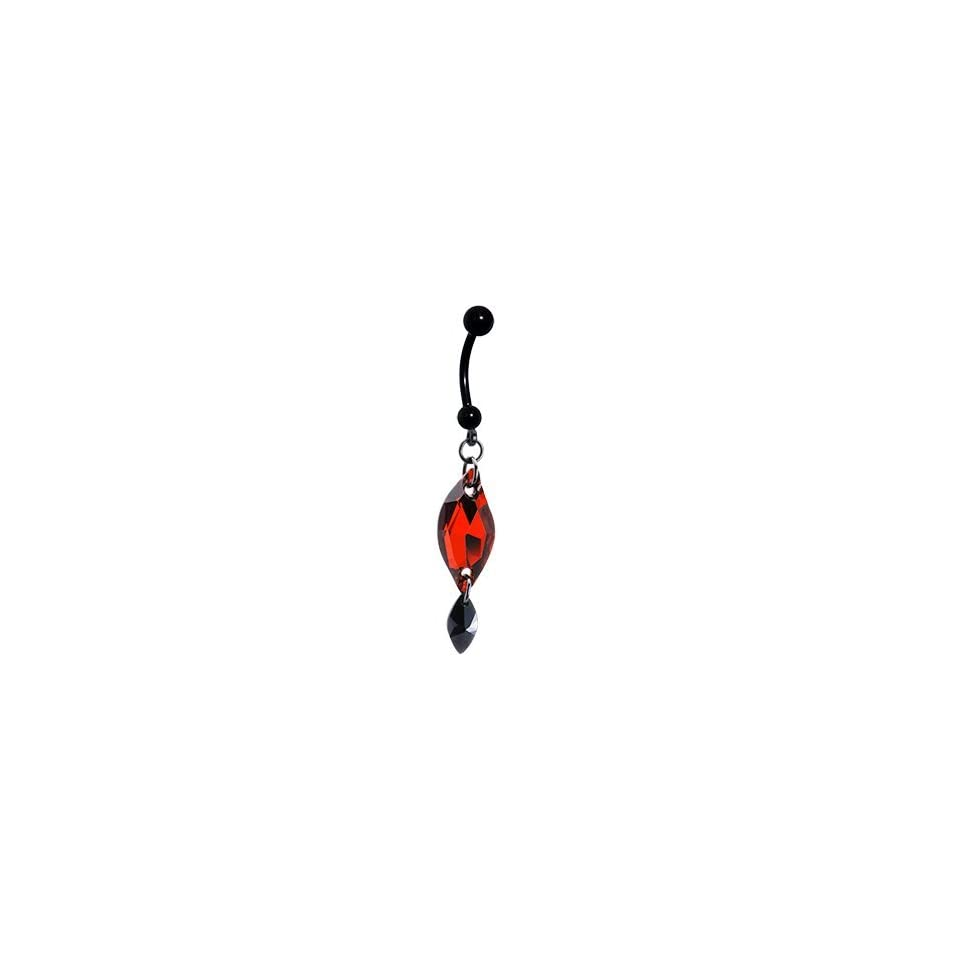 Handcrafted Austrian Crystal Red Black Titanium Belly Ring Jewelry
