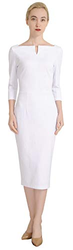 Marycrafts Women's Work Office Business Square Neck Sheath Midi Dress 10 Off White ()