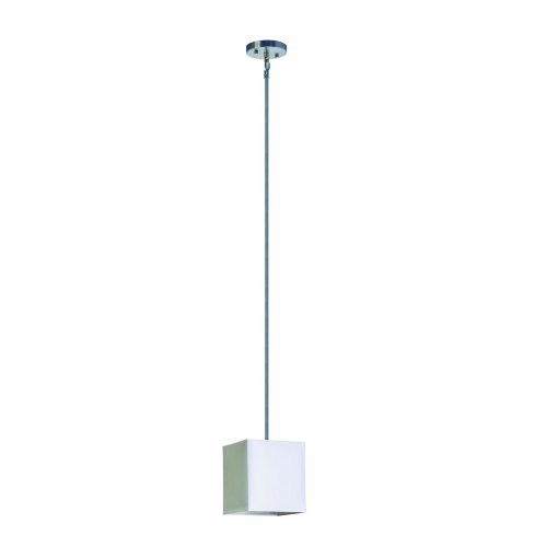 Yosemite Home Decor SH707-1P-PWSS Lyell Forks Family 1-Light Satin Steel Mini Pendant with Pristine White - Lyell Metal