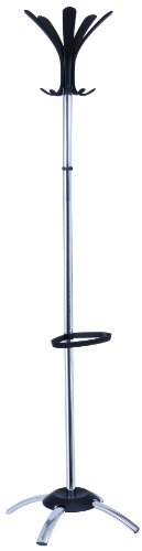 - Alba Chrome Coat Stand With Black Coat Pegs (PMCLEO)