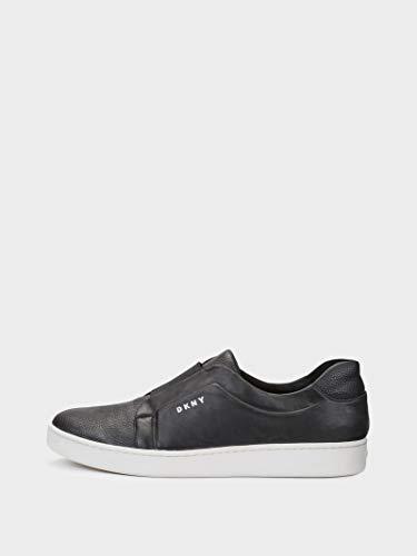 DKNY Womens Bobbi Leather Low Top Slip On Fashion Sneakers, Black, Size 6.0
