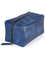 Harris Luxury Leather Dopp Kit Shaving Toiletry Travel Bag (Denim Blue) ()
