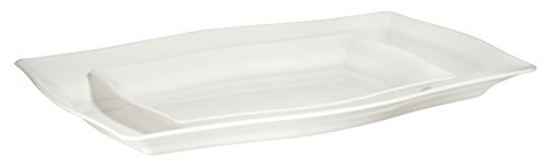 (Premium Quality Heavyweight White Hard Plastic Serving Trays | Value Pack 6 Piece Set - 3 Trays - 12.5
