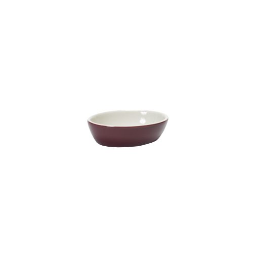 Tuxton B7K-160 16 Oz. Burgundy / Eggshell Oval Baking Dish - 12 / CS