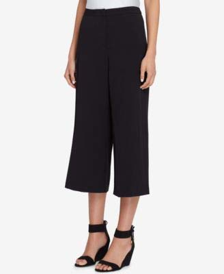 Petite Pants Crepe Cropped - Tahari ASL Women's Petite Cropped Wide-Leg Crepe Pants (14P, Black)