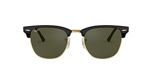 Ray-Ban RB3016 Clubmaster Square Sunglasses, Black On Gold/Green, 49 mm (Ray-ban Clubmasters, Schwarzen)