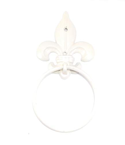 Aunt Chris' Products - Cast Iron Fluer De Lis - Wall Towel Ring - White Color Finish - Victorian Style Wall Hung - Perfect Accent To Any Color Walls!