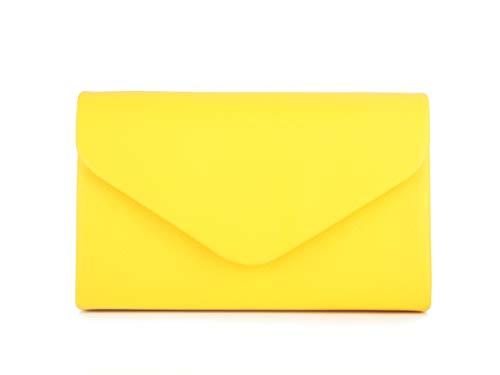 Nodykka Women Evening Envelope Crossbody Bags Party Bridal Clutch Purses and Handbags Shoulder Crossbody Purse (Yellow-PU)
