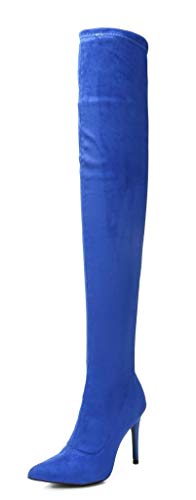 (CAMSSOO Women's Pointy Toe Side Zipper Thigh High Stiletto Heel Boots Royal Blue Velveteen Size 10.5 CN42 )