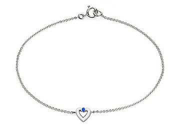 925 Sterling Silver Heart with Blue Created Sapphire Necklace of 0.10 CT