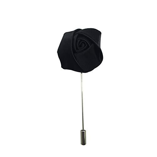 AINOW Wedding Party Boutonniere Men Silk Lapel Brooch Handmade Flower Lapel Pins (Black Rose)