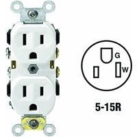 Leviton 5014-WSP 15 Amp, 125 Volt, Receptacle Duplex, 2 Pole, 3 Wire, Commercial Grade, (Heavy Duty Grade White Vacuum)