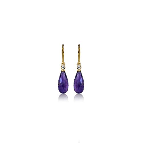 Drop 14k Amethyst - Euforia Jewels IGI Certified 14K Yellow Gold AAA Quality Natural Amethyst 6.83 Carats Drop and 0.05 Carat (SI/G-H) Round Full Cut Natural Diamond Dangling Earring for women