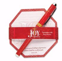 (The Joy of Christmas Rosy Red 4 x 4 Paper Christmas Notepad and Pen Set)