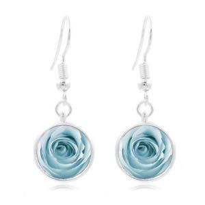 (1set Blue Rose Art Tibet Silver Dome Photo 16MM Glass Cabochon Long Earrings)