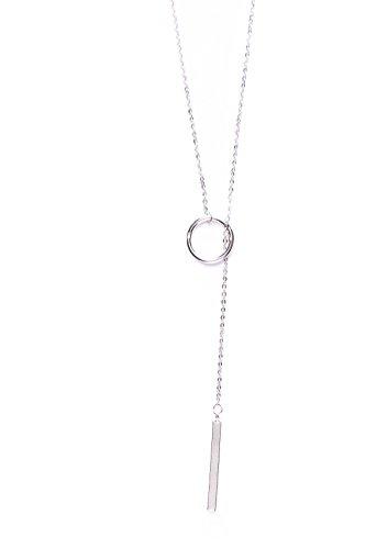 Happiness Boutique Damen Kette mit Anhängern in Silber | Lange Kette Minimalist Style nickelfrei