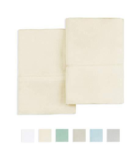400 Thread Count 100% Cotton Pillow cases, Cream Standard Size Pillowcases Set of 2, Long Staple Cotton, Sateen Weave with stylish 4