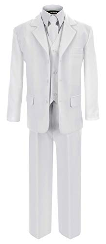 G230 White First Communion and Wedding Suit Set for Boys (8) ()