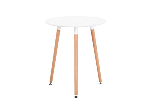 Creation Yusheng Modern Eames Style Circular Dining Table, living room table with Wooden Legs, White by CREATION YUSHENG